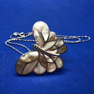 Jewelry - Butterfly pendant mother of pearl and silver 20""